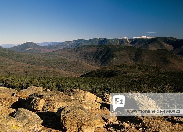 Appalachian Trail - Scenic views of Mount Washingtonsnow-capped from Mount Liberty Located in Franconia Notch  which is in the White Mountain National Forest of New Hampshire  USA