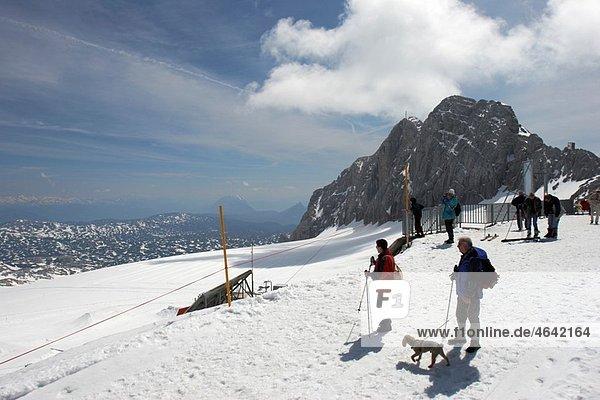 Tourists on Hunerkogel mountain Salzkammergut  Austria
