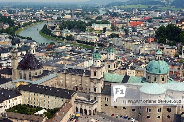 Low aerial view of Salzburg from Hohensalzburg fortress Austria
