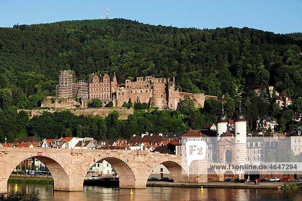 Heidelberg old town Necker river Old Bridge Karl Theodor Bridge castle Baden-W¸rttemberg Germany