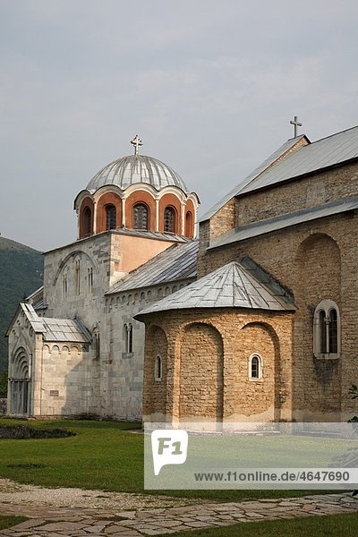 Serbia Studenica Monastery founded by Grand Prince Stefan Nemanja late 12th century Church of the Virgin Orthodox christian religious exterior outside facade colour cupolas