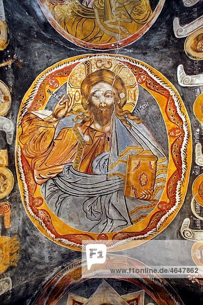 Serbia Ravanica Monastery Ascension of Jesus Church 1375-1377 Prince Lazar¥s Foundation Orthodox christian religious colour interior indoor frescos