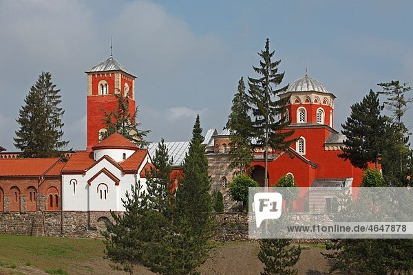 Serbia Zica Monastery early 12th century first Serbian autonomous Archbishopric from 1218 Orthodox christian religious exterior outside facade colour