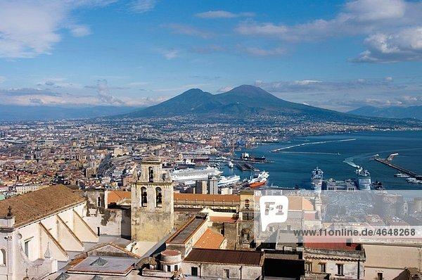 Europe  Italy  Naples  cityscape  vesuvius  certosa san martino