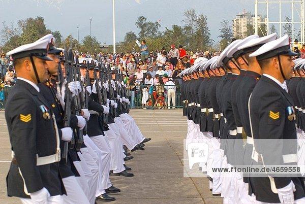 Escuela Naval in Military Parade in Santiago city Chile