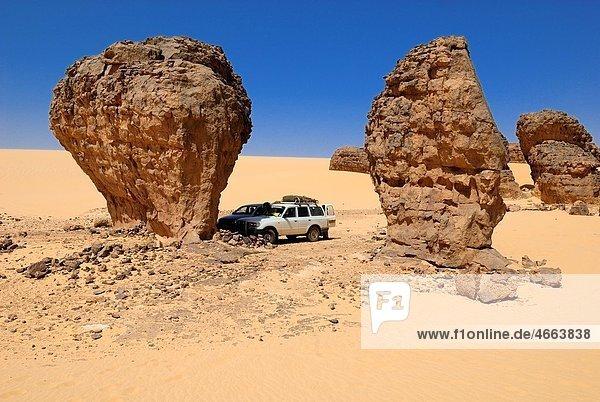sandstone rock formation at Tagrera  Tin Akachaker  Tassili du Hoggar  Wilaya Tamanrasset  Algeria  Sahara  Africa