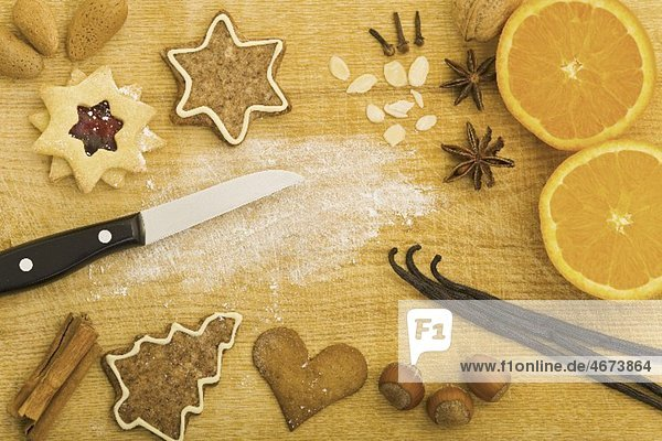 Christmas biscuits and baking ingredients  seen from above