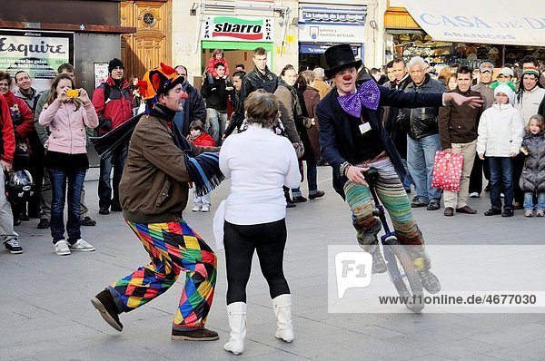 Street performers  Clowns Without Borders in the Puerta del Sol of Madrid.