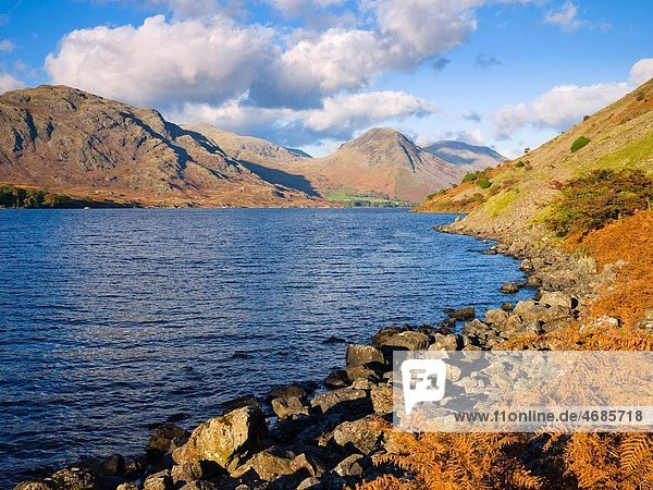 View up the length of Wastwater from the southern shore by The Screes Nether Wasdale in the Lake District National Park  Cumbria  England  United Kingdom