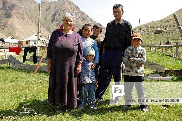 Kyrgyz family in the tiny village Oryook-Tam  Kyrgyzstan