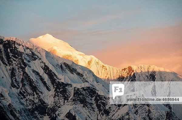 sunrise on the mountains in the Annapurna region of Nepal