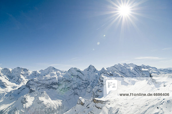 View from Piz Gloria  Mt. Schilthorn  Muerren  Canton Bern  Switzerland  Europe
