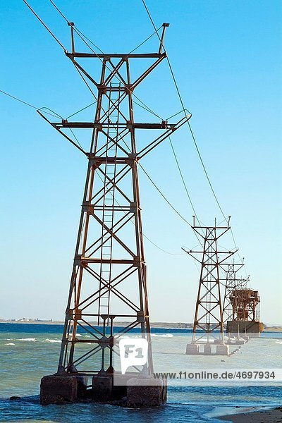 Electricity pylons anchored in the Red Sea near Al-Qusair  Egypt