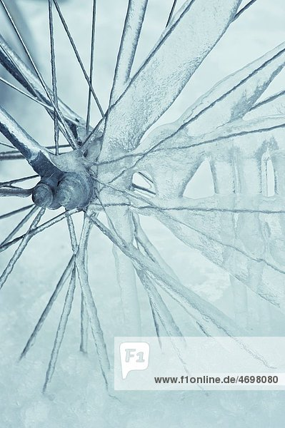 Close-up of Bicycle wheel covered in ice,  Sweden