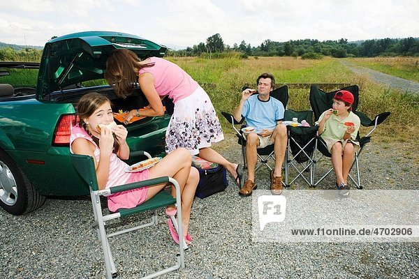 Family eating picnic lunch outside car