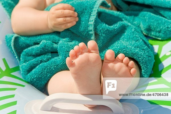 Close up of babys bare feet