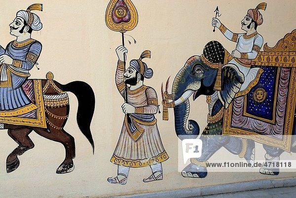 Rajasthani wall painting   Udaipur   Rajasthan   India Rajasthani wall painting , Udaipur , Rajasthan , India