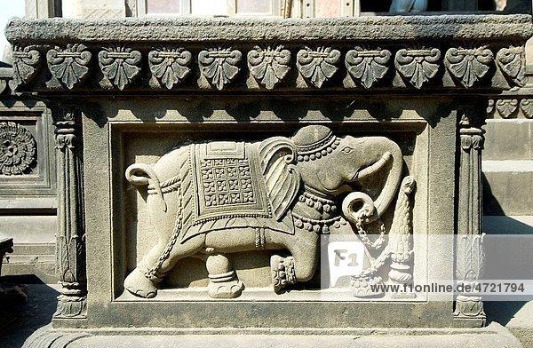 Beautiful carving of elephant on temple wall of Maheshwar   Madhya Pradesh   India Beautiful carving of elephant on temple wall of Maheshwar , Madhya Pradesh , India