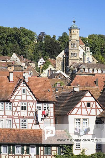 Old town with St. Michael Kirche church  Schwaebisch Hall  Hohenlohe  Baden-Wuerttemberg  Germany  Europe