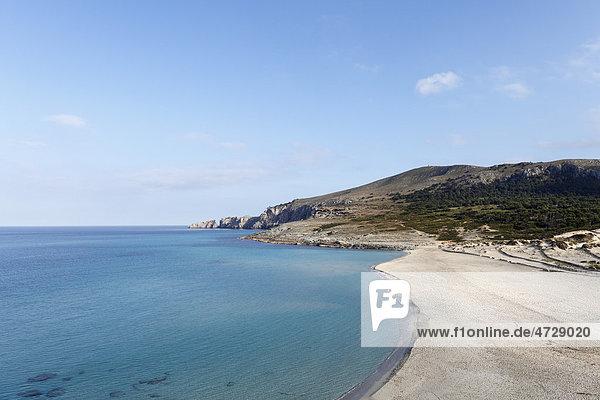 Sandy beach beach of Cala Mesquida and Cap Freu in Capdepera  Majorca  Balearic Islands  Spain  Europe