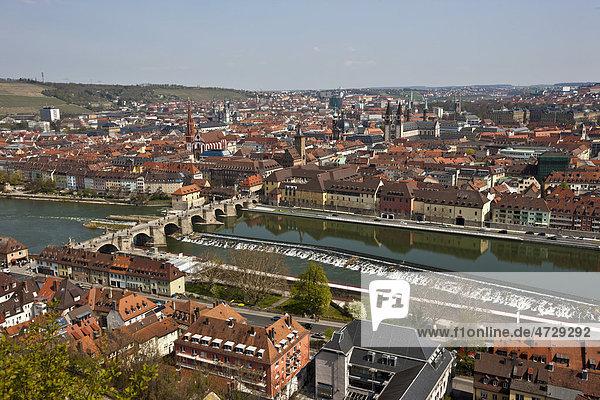 View from Fortress Marienberg over Wuerzburg  Main River  Old Main Bridge  Wuerzburg  Franconia  Bavaria  Germany  Europe