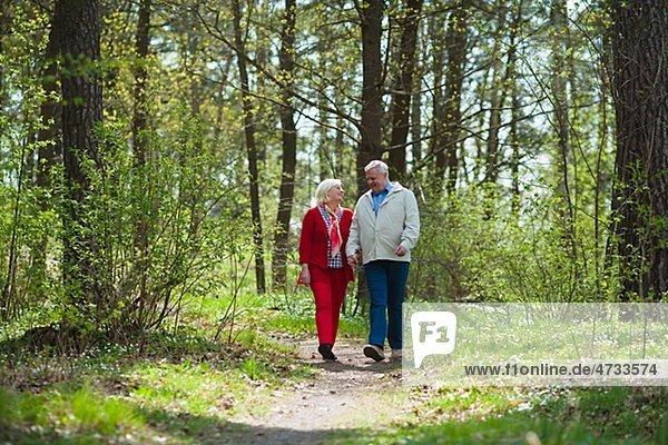 älteres Paar Wandern im park