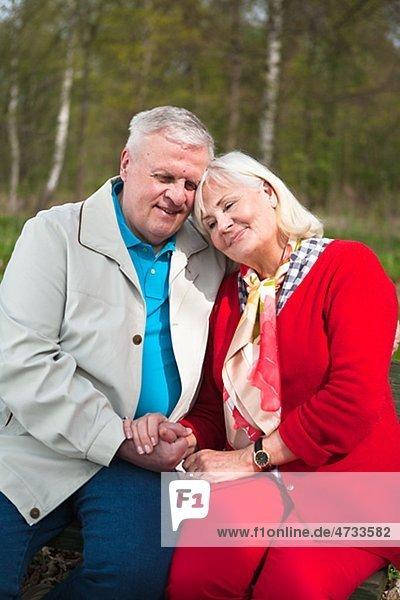 älteres Paar sitzen im park