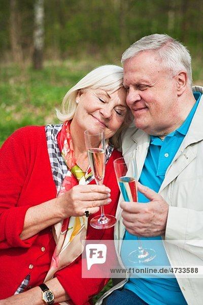 älteres Paar trinken Wein im park