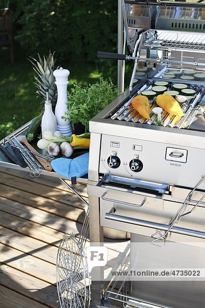 Barbeque with vegetables outdoors