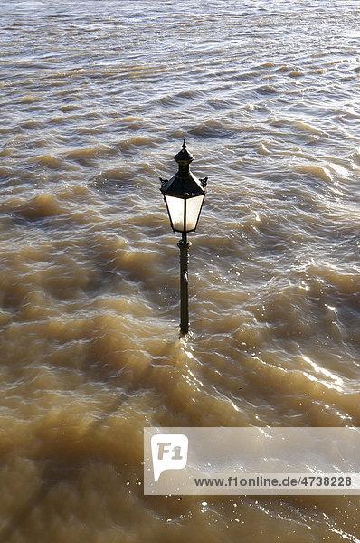 Straßenlaterne im Hochwasser auf der Rheinpromenade in Rees  Niederrhein  Nordrhein-Westfalen  Deutschland  Europa Straßenlaterne im Hochwasser auf der Rheinpromenade in Rees, Niederrhein, Nordrhein-Westfalen, Deutschland, Europa
