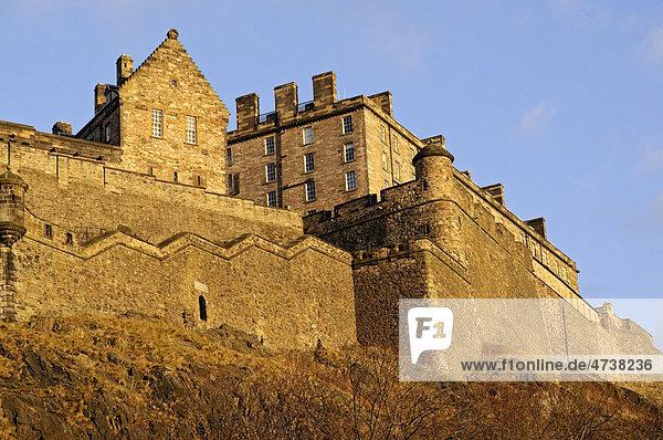 Schloss Edinburgh Castle  Midlothian  Schottland  Großbritannien  Europa