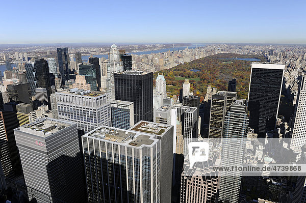 View from Rockefeller Center north on Central Park  Manhattan  New York City  New York  United States of America  USA  North America
