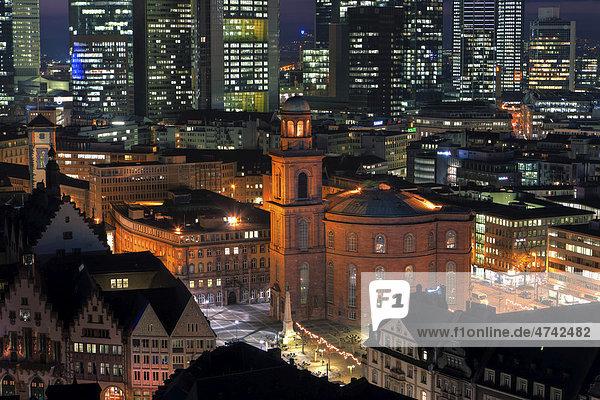 Blick auf Frankfurt  Paulskirche  Römer  Frankfurt  Hessen  Deutschland  Europa