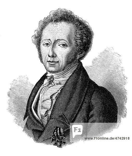 H. Clauren nach dem Bildnis von W. Hensel  historische Abbildung aus Deutsche Literaturgeschichte von 1885