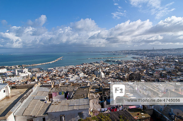 View over the Unesco World Heritage site  the Kasbah  historic district of Algiers  Algeria  Africa