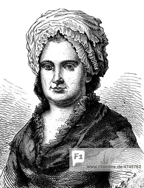 Goethes Mutter  Catharina Elisabeth Goethe  1731 - 1808  historische Illustration  1877