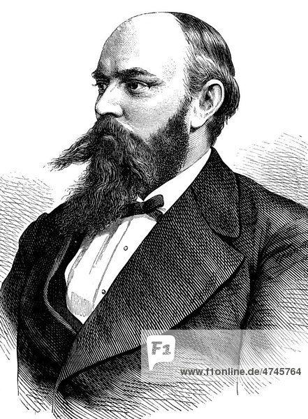 Ewald August König,  1844 - 1913,  deutscher Professor für Bergbau und Mineralogie,  historische Illustration,  1877