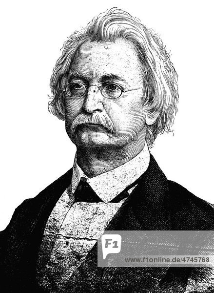 Professor Karl Richard Lepsius  1810 - 1884  Ägyptologe und Sprachforscher  historische Illustration  1877