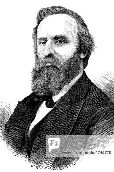 Rutherford Birchard Hayes  1822 - 1893  19. Präsident der Vereinigten Staaten von Amerika von 1877 - 1881  historische Illustration  1877