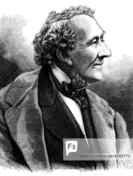 Hans Christian Andersen  1805 - 1875  dänischer Dichter  historische Illustration  1877