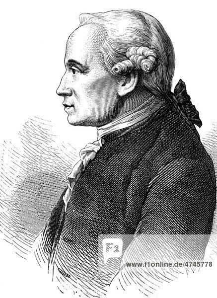Immanuel Kant  1724 - 1894  Philosoph der Aufklärung  historische Illustration  1877