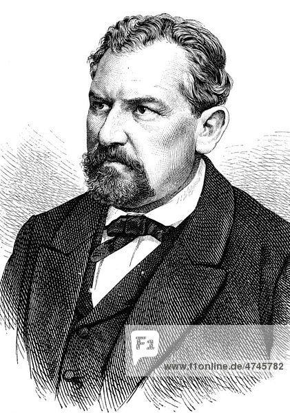 Dr. Wilhelm Loewe  1814 - 1886  Arzt und deutscher Politiker  historische Illustration  1877