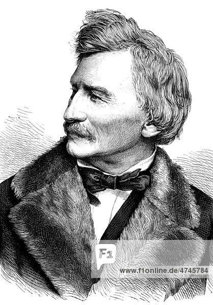 Gottfried Semper  1803 - 1879  deutscher Architekt  Erbauer der Semperoper  historische Illustration  1877