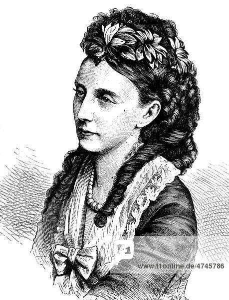 Olga Nikolajewna Romanowa  russische Großfürstin und als Ehefrau Karls I. auch Olga  Königin von Württemberg  1822 - 1892  historische Illustration  1877