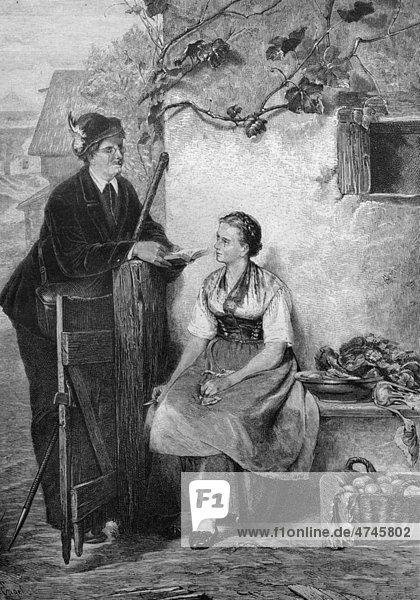 Vorleser,  historische Illustration,  1877