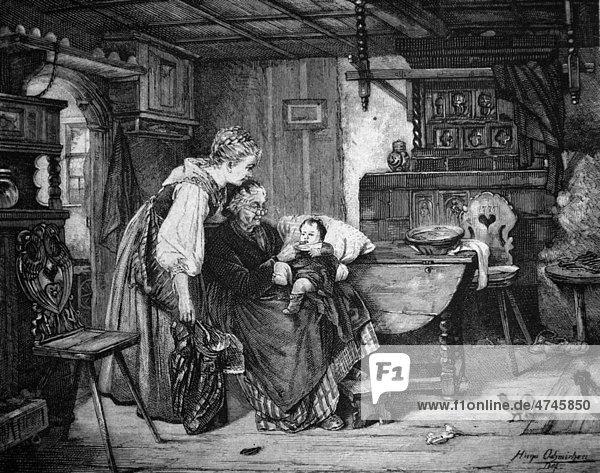 Der erste Zahn  historische Illustration  1877