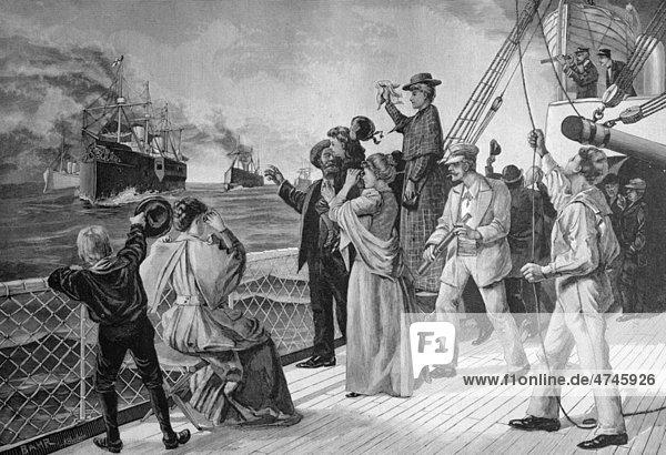 Der erste Gruß aus der Heimat  heimkehrende Schiffe  historisches Bild  ca. 1893