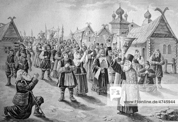 Choleraprozession in Russland  historisches Bild  ca. 1893