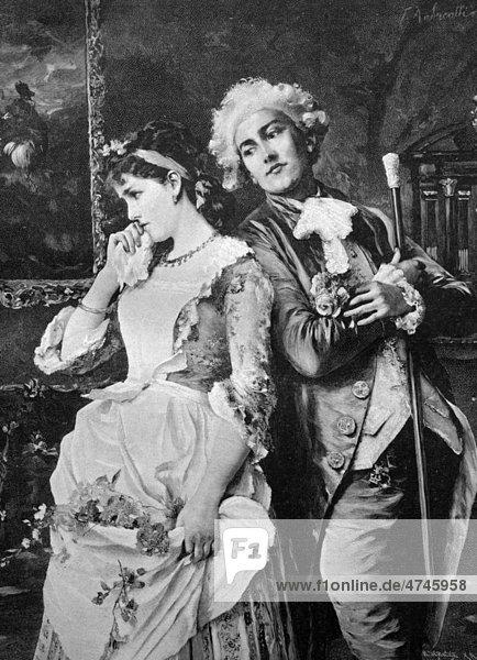 Paar  in Verlegenheit  historisches Bild  ca. 1893
