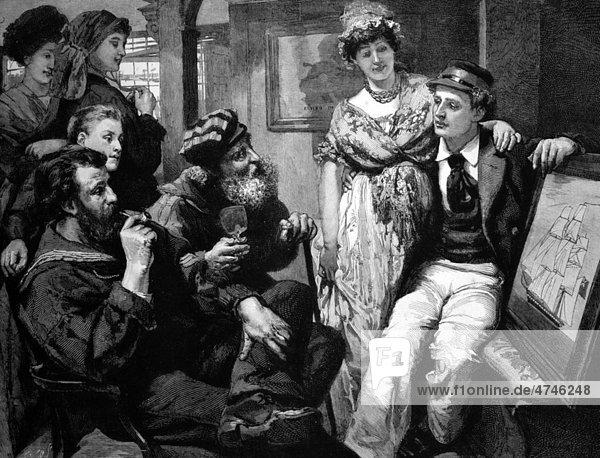 Mann präsentiert seinen Freunden ein Bild von seinem Schiff  historisches Bild  1884